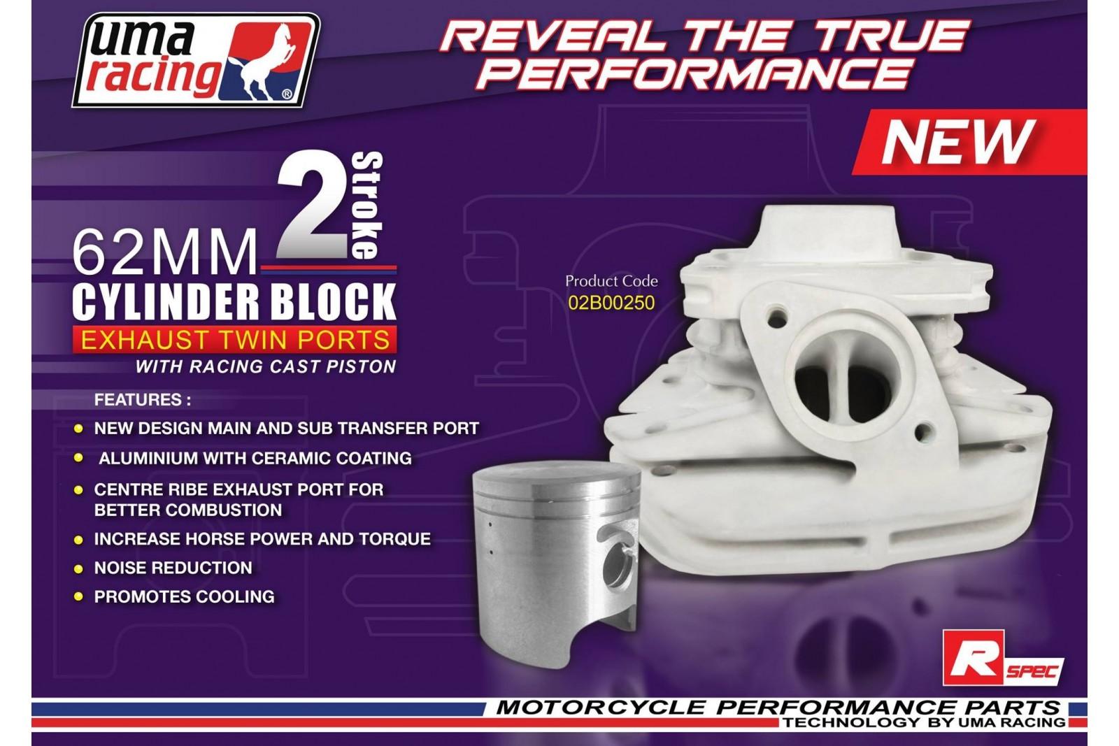 UMA Racing 62mm (165cc) Big Bore Cylinder Kit - Yamaha 125z/Z125